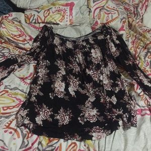 off the shoulder flowery blouse